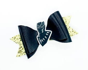 Black Panther Marvel Comics Avengers Wakanda Inspired Glitter Hair Bow