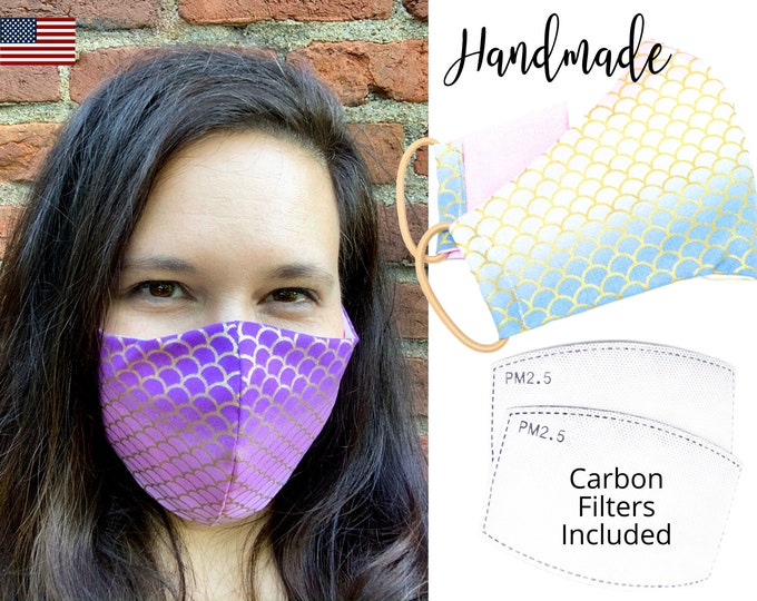 Mermaid Scales Cotton Fabric Face Mask with adjustable elastic tie, for Adult Woman Men & children, handmade and washable with filter pocket