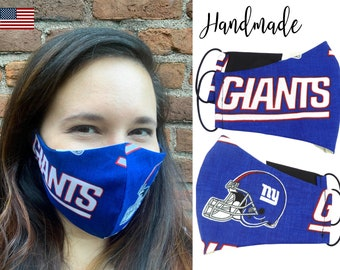 New York Giants Cotton Fabric Football Face Mask with adjustable elastic tie, for Adult Men Women and children, handmade with filter pocket