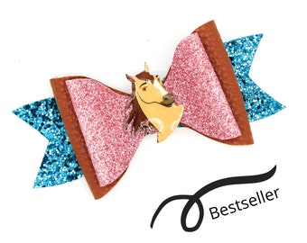 Spirit Riding Free Horse Dreamworks Inspired Pink Glitter Leather Hair Bow