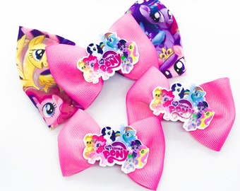 My Little Pony Warner Bros Inspired Cotton Fabric Glitter Hair Bow Set