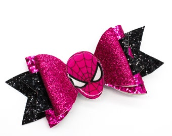Pink Spiderman Marvel Comics Superhero Avengers Inspired Black Chunky Glitter Hair Bow