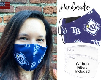 Tampa Bay Rays Baseball Cotton Fabric Face Mask & elastic tie, for Adult Men Women and children, handmade with carbon filter pocket