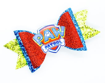 Paw Patrol Logo Nick Junior Inspired Red and Blue Chunky Glitter Hair Bow