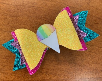 Ice Cone Glitter Hair Bow