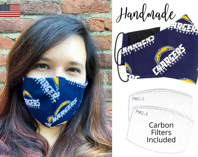 Los Angeles Chargers Football Cotton Fabric Face Mask with elastic tie, for Adult Men Women and children, handmade with carbon filter pocket
