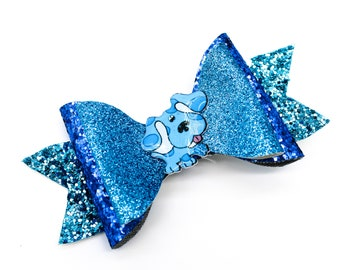 Blues Clues Nick Jr Inspired Blue Chunky Glitter Hair Bow
