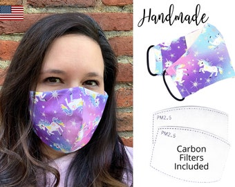 Unicorn Pastel Silver Glitter Cotton Fabric Face Mask with elastic, Adult Woman & children, handmade and washable with carbon filter pocket