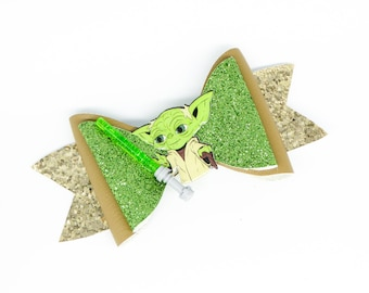 Yoda Lightsaber Star Wars Inspired Green Chunky Glitter Hair Bow