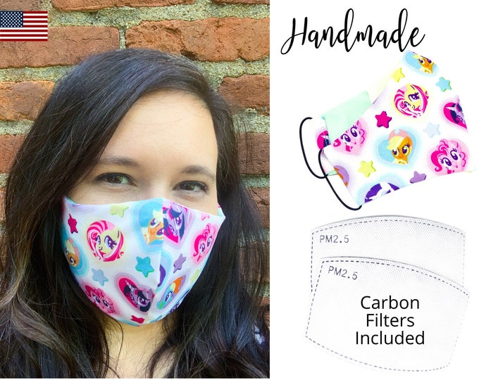 My Little Pony White Cotton Fabric Face Mask with adjustable elastic tie, for Adult Women & children, handmade with carbon filter pocket