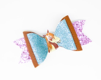 Boomerang Spirit Riding Free Horse Glitter Hair Bow