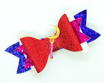 Sailor Moon Sceptor Inspired Red Chunky Glitter Hair Bow