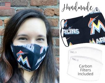 Miami Marlins Baseball Cotton Fabric Face Mask & adjustable elastic tie, for Adult Men Women and children, handmade carbon filter pocket
