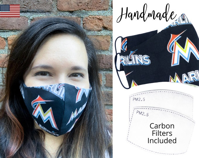 Miami Marlins Baseball Cotton Fabric Face Mask & elastic tie, for Adult Men Women and children, handmade with carbon filter pocket