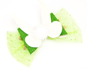Tinkerbell Disney Inspired Peter Pan Green Chunky Glitter and Tulle Hair Bow with 3D wings