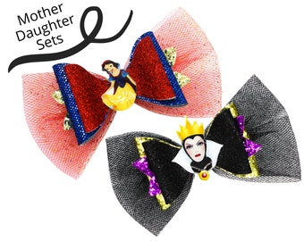 MOTHER AND DAUGHTER Snow White and the Evil Queen Disney Inspired Seven Dwarves Set Chunky Glitter and Tulle Hair Bows