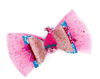 Poppy Trolls Rock Tour Inspired Pink Chunky Glitter and Tulle Hair Bow