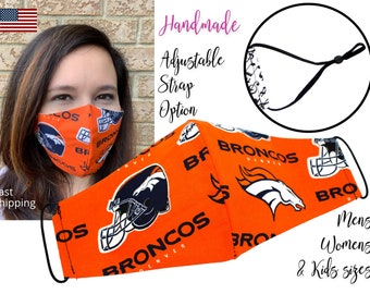 Denver Broncos Fitted Fabric NFL Football Face Mask with adjustable ear tie, for Adult Men Women and children, handmade filter pocket