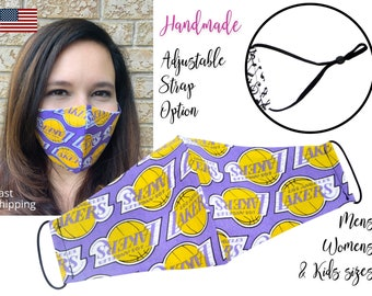 LA Los Angeles Lakers Basketball Cotton Fabric Face Mask & adjustable elastic tie, for Adult Men Women and children, handmade filter pocket