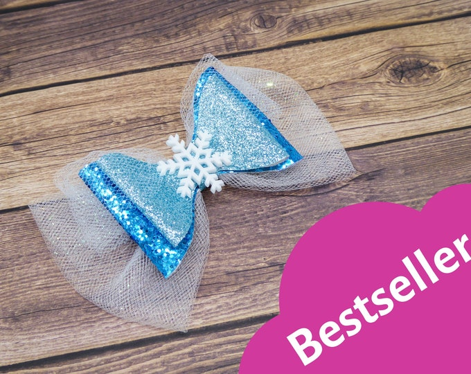 Frozen Elsa Snowflake Glitter and Tulle Hair Bow