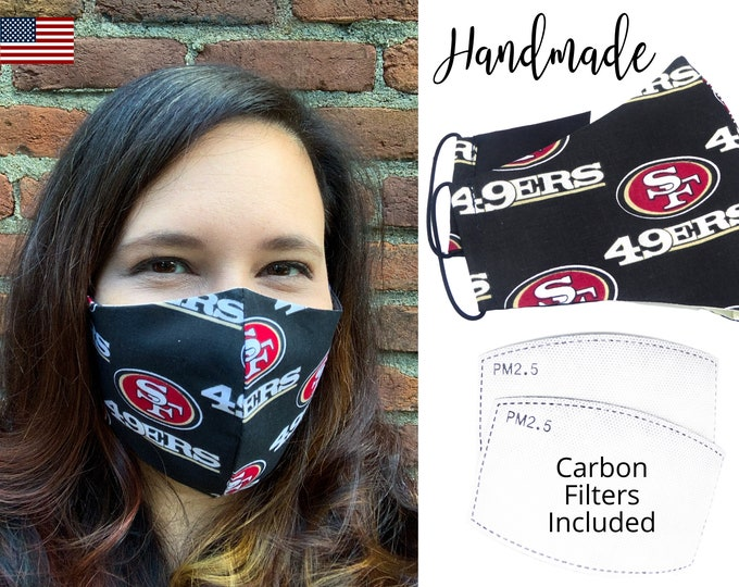 San Francisco 49ers Football Cotton Fabric Face Mask with elastic tie, for Adult Men Women and children, handmade with carbon filter pocket