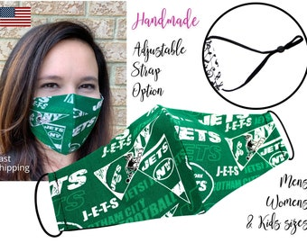 New York Jets Cotton Fabric Football Face Mask with adjustable elastic tie, for Adult Men Women & children, handmade carbon filter pocket