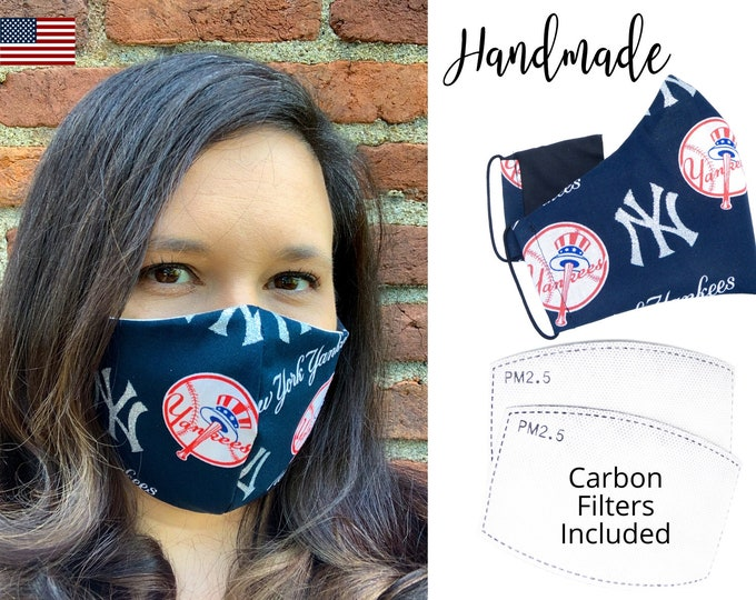 New York Yankees Glitter Cotton Fabric Baseball Face Mask with elastic tie, for Adult Men Women and children, handmade with filter pocket