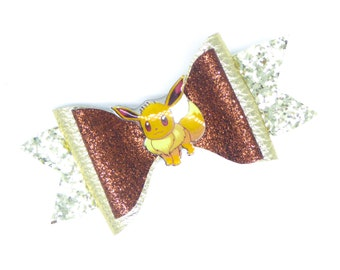 Eevee Pokemon Glitter Hair Bow