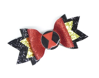 Black Widow Marvel Comics Avengers Superhero Inspired Black and Red Chunky Glitter Hair Bow