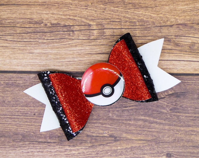 Red Pokeball Pokemon Glitter Hair Bow