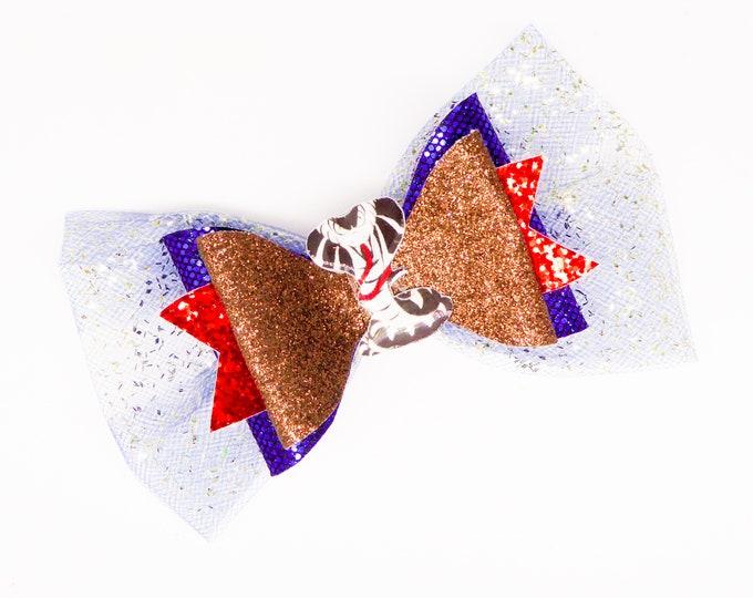 Jay Disney Inspired Descendants 3 Chunky Glitter and Tulle Hair Bow