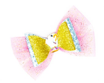 Chip Disney Inspired Beauty and the Beast teacup Chunky Glitter and Tulle Hair Bow