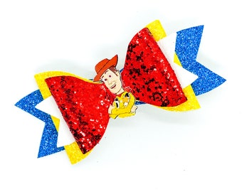 Woody Disney Toy Story Inspired Glitter Hair Bow