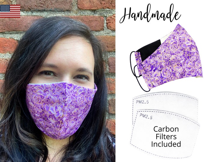 Purple and Gold Flowers Cotton Face Mask with elastic tie, for Adult Woman Men and children, handmade and washable, carbon filter included