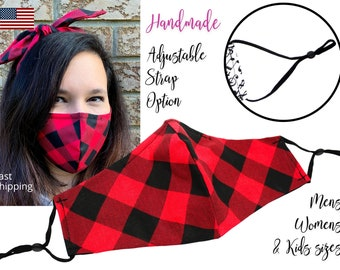 Red and Black Buffalo Plaid Fitted Fabric Face Mask adjustable ears, for Men Women & children, handmade with filter pocket