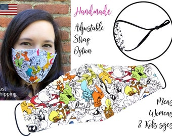 Looney Tunes Fitted Fabric Face Mask with adjustable elastic tie, for Adult Women & children, handmade and washable carbon filter pocket