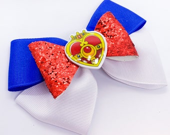 Sailor Moon Inspired Glitter Ribbon Hair Bow
