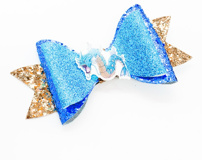Gyarados Pokemon Glitter Hair Bow
