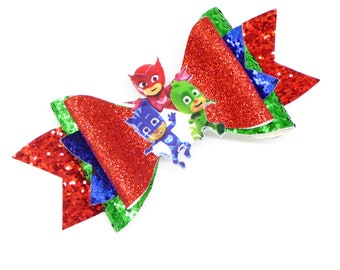 PJ Mask Owlet, Catboy, and Gekko Glitter Hair Bow