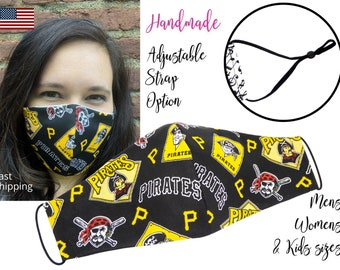 Pittsburgh Pirates Fitted Fabric Face Mask with adjustable elastic tie, for Adult Men Women & children, handmade with carbon filter pocket