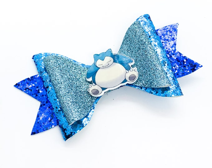 Snorlax Pokemon Nintendo Trading Card Game Inspired Blue Chunky Glitter Leather Hair Bow