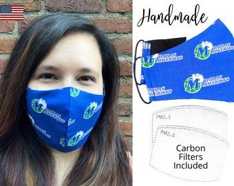 Dallas Mavericks Cotton Fabric Basketball Face Mask with adjustable elastic tie, for Adult Men Women & children, handmade with filter pocket