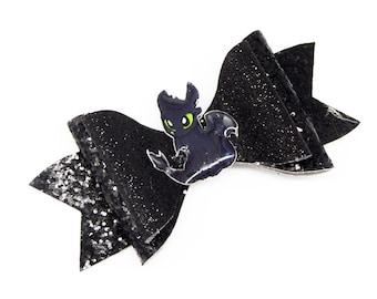 Toothless Dragon Glitter Hair Bow