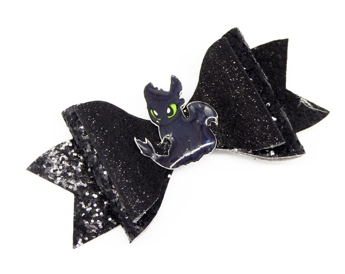 Toothless Dragon Glitter Hair Bow