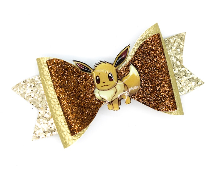 Featured listing image: Eevee Pokemon Eeveelution Trading Card Game Inspired Brown Chunky Glitter Leather Hair Bow