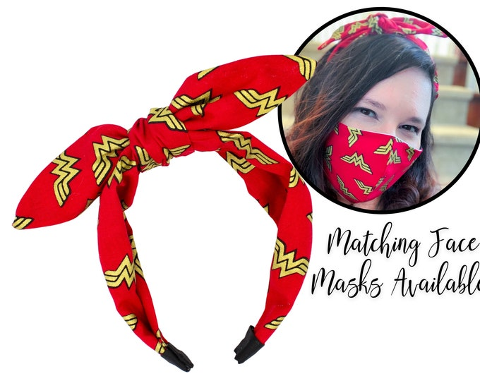 Featured listing image: Wonder Woman Fabric Tie Knot Bow Headband for adult women and children, one size fits all