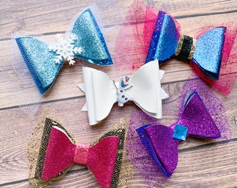 Frozen Bow Set Elsa, Anna and Olaf Disney Frozen 2 Inspired Glitter Hair Bow