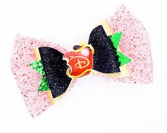 Descendants Logo Disney Inspired Glitter Hair Bow