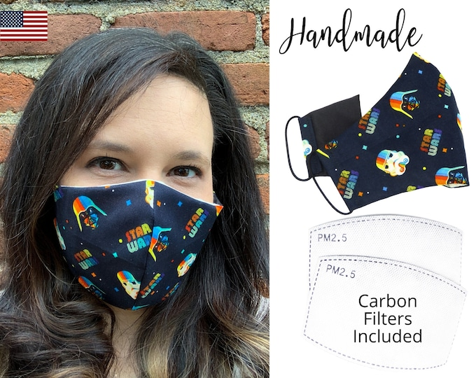 Retro Star Wars Darth Vader Cotton Fabric Face Mask with elastic tie, for Adult Men Women & children, handmade with carbon filter pocket
