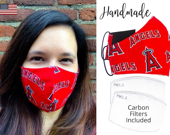 LA Los Angeles Angels Baseball Cotton Fabric Face Mask & elastic tie, for Adult Men Women and children, handmade with carbon filter pocket